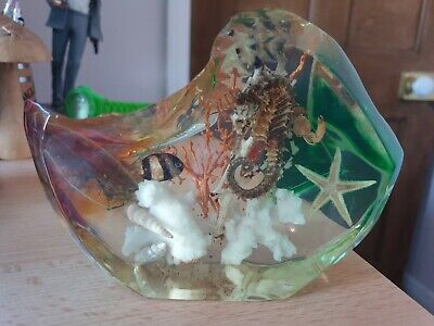 Vintage Lucite Acrylic Large Paperweight Sea Life Seahorse Starfish Ornament