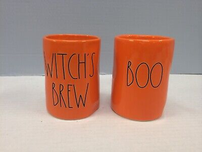New Rae Dunn WITCH'S BREW & BOO Halloween Candles Ceramic Orange LL Large Letter