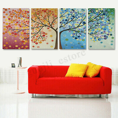 4Pcs Unframed Canvas Print Colorful Tree Painting Art Wall Home Decor Picture