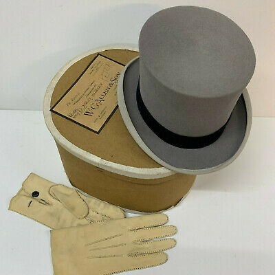 VINTAGE Grey TOP HAT by WOODROW of Piccadilly London with MATCHING GLOVES