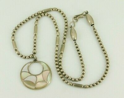 """Vintage Southwestern Sterling Silver Mother Of Pearl Necklace 17.5"""" Long Singed"""