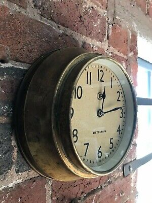 Dictograph Industrial Wall Clock / Factory Clock/ Station Clock Brass Casing
