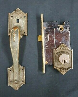 Antique Mortise Lock Includes Front Door Handle With Back & Front Plates