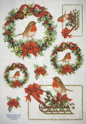 Rice Paper - Christmas Wreath with Birds - for Decoupage Scrapbook Sheet