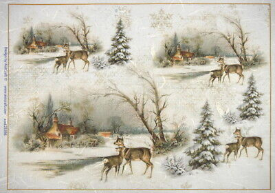 Rice Paper -  Winter Village with Deer - for Decoupage Scrapbook Sheet