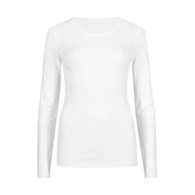 Marks & Spencer WomensWhite Pure Cotton Long Sleeve Crew Neck M&S T Shirt Top