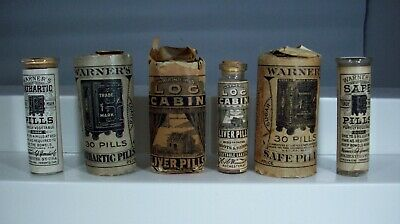 Lot of Three (3) Different Warner's Remedies, Safe, Cathartic, & Log Cabin Pills
