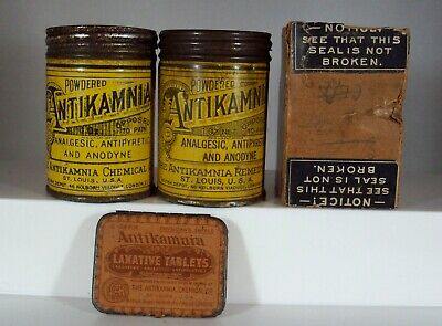 Lot of Three (3) Antikamnia Quack Medicine Tins, One Scarce Physician's Sample