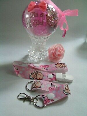 Dummy Clip Hanging Ball Pink It's A Girl Baby Girls Gift Set New