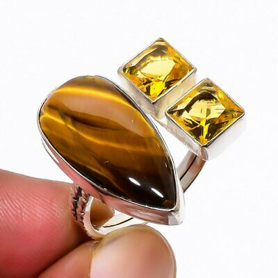Yellow Tiger'S Eye, Aaa Citrine 925 Solid Sterling Silver Ring 8 (42) AQ