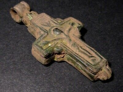 Outstanding Byzantine Encolpion Bronze Reliquary Cross, As Found+++