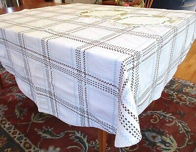 "Vintage Oval Linen Tablecloth 64""x62"" Woven Plaid Brown Pale Blue 2 Embroidered"