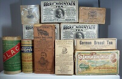 Great Lot of Eleven (11) Early Quack Med Boxes, Teas, Liver Med, Dream Salve
