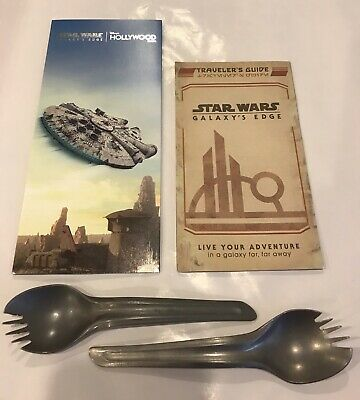 Disney World Star Wars Galaxy's Edge Set of 2 Docking Bay Sporks & Guide & Map