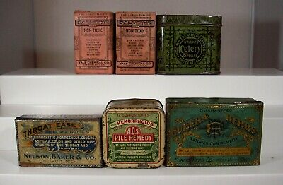Lot of Six (6) Early Patent Medicine Tins, Two Salutine from Los Angeles