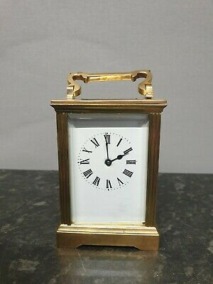 Antique 8 Day English Lever Brass Carriage Clock.