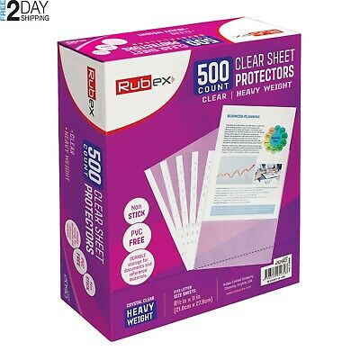 500 RUBEX Clear Heavyweight Sheet Protectors, Holds 8.5 x 11 inch Sheets