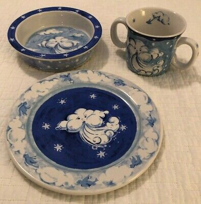 Puff~Johanna Bohoy~Essex Collection~Wind Blowing Cloud~Childs Set~Cup~Plate~Bowl