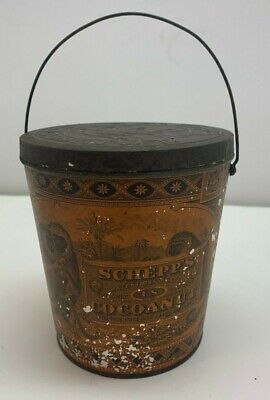 Antique Schepps Cocoanut Litho Tin Pail Larger Orange Coconut Can With Monkeys