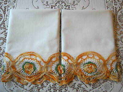 "Pair of Vintage Gold Rose Crochet Trim Tube Cotton Pillowcases 20 1/2"" x 32"""
