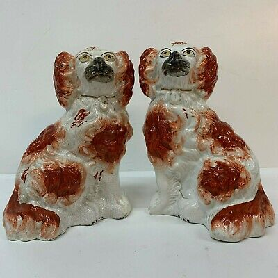 Antique Staffordshire Pottery Pair Spaniel Dogs  White 19th century  21cm