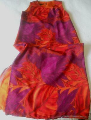 Vintage 1980'S Stitches Fully Lined Shift Orange & Purple Large Leaves Print 14