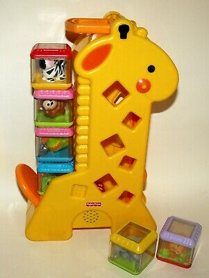 Fisher Price 6 Peek A Boo Blocks & Tumblin' Sounds Giraffe 6 months +