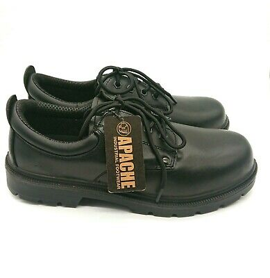 NEW Apache Industrial Black Leather Steel Toe Midsole Safety Boot Shoes Size 9