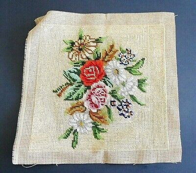 Completed Tapestry Canvas - Flowers  25 cm x 25 cm