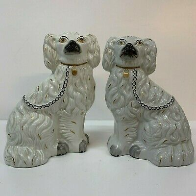 Antique Staffordshire Pottery Pair Spaniel Dogs  White 19th century