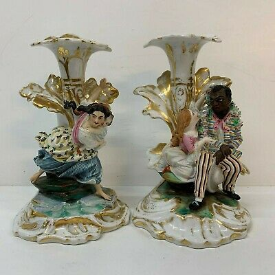 Antique French  Porcelain  Figural Pair Candlesticks RARE 19th century