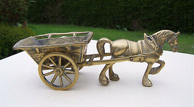 Large Brass ornament of a Heavy Shire Horse Pulling Coal Cart Nearly 5kg