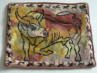 """Vintage Ehrman Completed Canvas """"Bull """" Cushion Front Great Mid Century Design"""