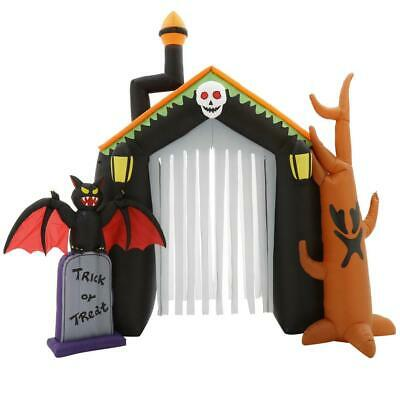 Inflatable Haunted House 10 ft. Pre-Lit Scary Tassel-Door Tombstone Spooky-Tree