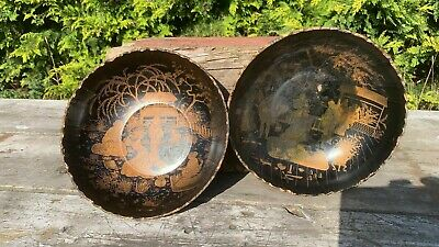 A Pair Of Chinese Black  Antique Papier Mache Hand Painted Bowl *