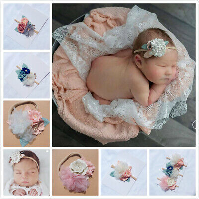 100% Handmade Baby Flower Headband Newborn Photoshoot Floral Hairband Headdress