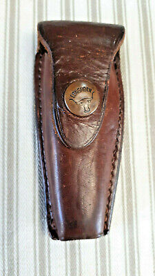 Longhorn Pocket Knife Sheath /Holder Belt spot Case Solid hide leather Brown