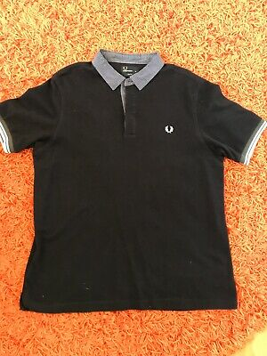 Mens FRED PERRY slim fit polo shirt top Navy Blue with Checks size XL