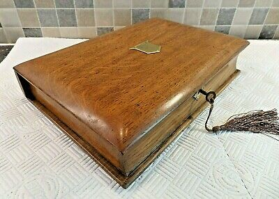 VICTORIAN 19thC SOLID OAK BOOK FORM WRITING BOX WITH LIFT OUT TRAY - LOCK & KEY