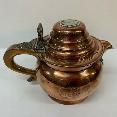 Antique Copper Jug Baluster with Lid 15cm 18th century coat of arms silver coin