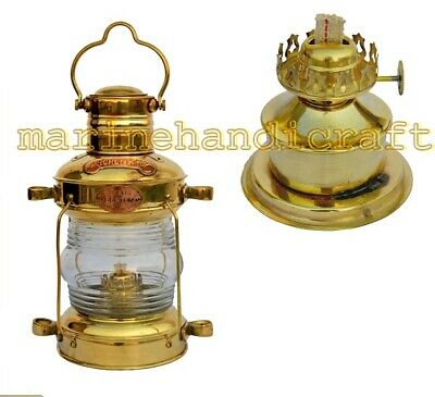 Antique Vintage Brass Oil Lamp Ship Lantern Maritime Anchor Boat Nautical Light