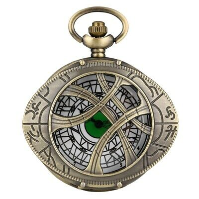 Doctor Who Eye Shape Hunter Quartz Pocket Watch Bronze Necklace Sweater Chain