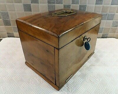Victorian Figured Walnut Portable Jewellery Box - Concealed Drawers - Lock & Key
