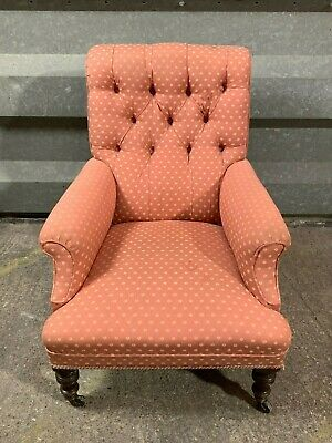 Antique victorian upholstered bedroom nursing chair armchair with button back