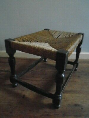 Small Rustic Vintage Dark Wood Oblong Stool with String Top - 40cm x 30cm