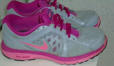 Womens Girls Nike Dual Fusion Run Trainers Uk 5 Eur 38.5 Grey Pink Leather Mix