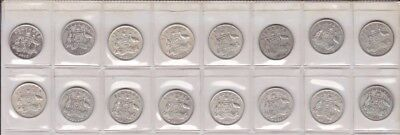 1938-1963 Silver 6p Sixpence  Lot Ex Collection Australia 16 Coins F-582