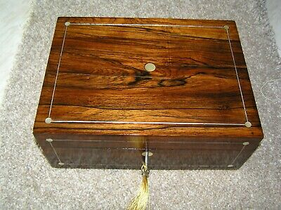 Antique Victorian Rosewood Jewellery/Trinket Box With Mop, Working Lock & Key.