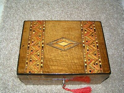 Antique Victorian Walnut Jewellery/Trinket Box With Tunbridge Inlay/Lock & Key.
