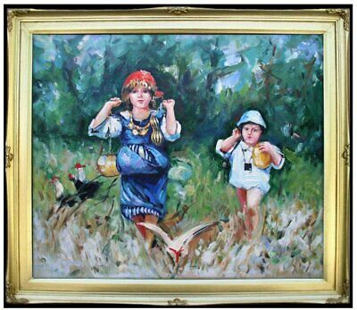 Framed, Quality Hand Painted Oil Painting Children Playing in the Field, 20x24in
